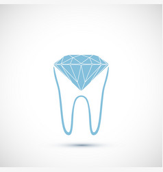 human tooth with a faceted diamond icon vector image