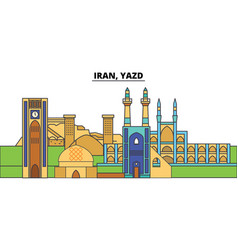Iran yazd city skyline architecture buildings vector