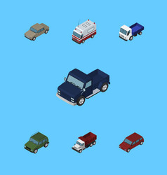 Isometric car set of armored freight car and vector