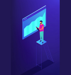 isometric seo and data monitoring vector image