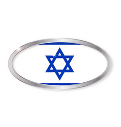 israel flag oval button vector image