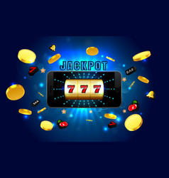 jackpot lucky wins golden slot machine casino on vector image