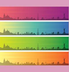 Kiev multiple color gradient skyline banner vector