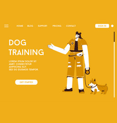 Landing page dog training concept vector