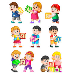 Lets count to ten with kids holding box vector