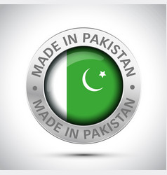 made in pakistan flag metal icon vector image