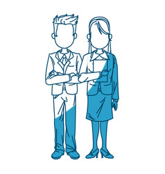 Man and woman business people work vector