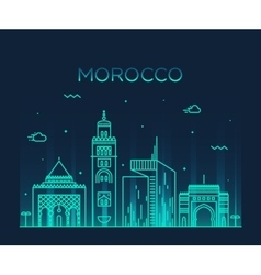 Morocco skyline trendy linear vector image