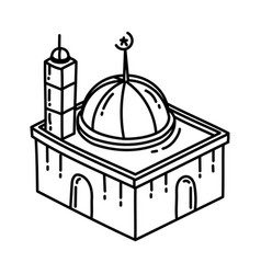 mosque icon doodle hand drawn or outline icon vector image