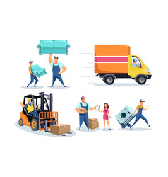Moving house furniture delivery workers people vector