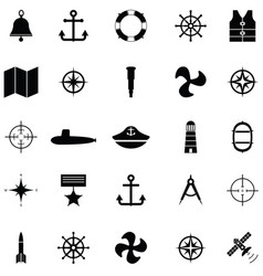 navy icon set vector image