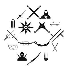 Ninja black simple icons set vector