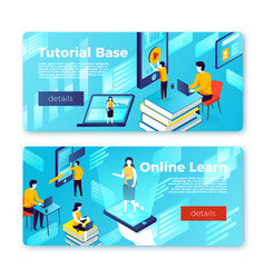 online learning and tutorial base banners vector image