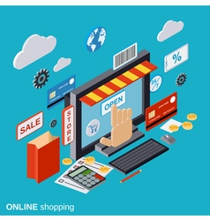 Online shopping e-commerce distant trade vector