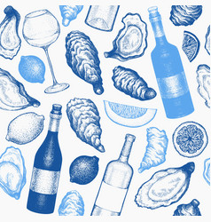 oysters seamless pattern hand drawn seafood vector image