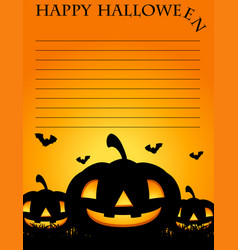 paper template with jack-o-lantern in background vector image