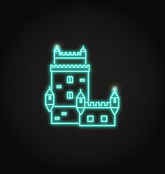 portugal belem tower icon in glowing neon style vector image