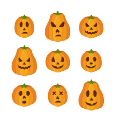 Pumpkins for halloween funny scary faces vector