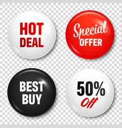 Realistic badges with text product promotion vector