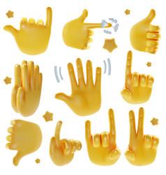 Realistic detailed 3d emoji hands set vector