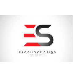 Red and black es e s letter logo design creative vector