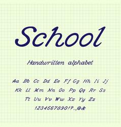 school handwritten alphabet vector image