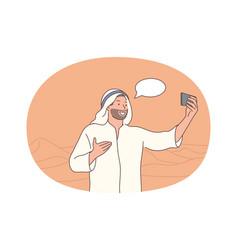Selfie smartphone blogger vector