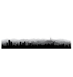 seoul city skyline south republic korea korean vector image