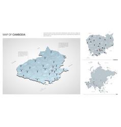 Set cambodia country isometric 3d map cambodia vector