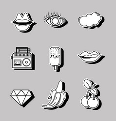 Set fashion pop art patches design vector