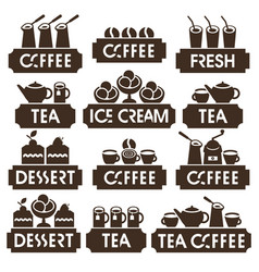 Set logo of coffee tea dessert juice ice cream vector