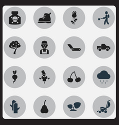 Set of 16 editable gardening icons includes vector