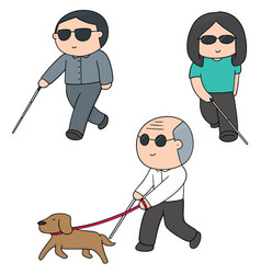 Set of blind people vector