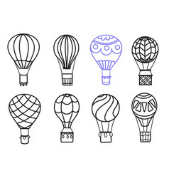 Set of outline hot air balloons vector
