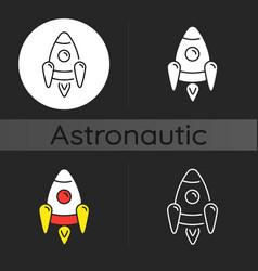 space rocket dark theme icon vector image