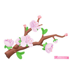 Spring flowers plasticine art tree branch 3d vector
