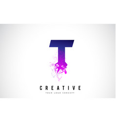 T purple letter logo design with liquid effect vector