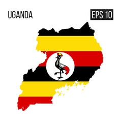 Uganda map border with flag eps10 vector