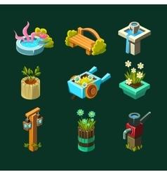 Video Game Garden Design Collection Of Elements vector