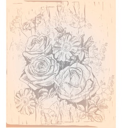 Vintage Drawing of a Rose and Chamomile Bouquet vector image
