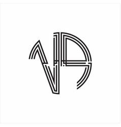 Vp logo monogram triple ribbon style line design vector
