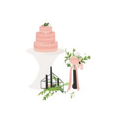 wedding ceremony flat symbols icon set vector image