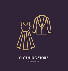 Wedding dress men suit icon clothing shop line vector