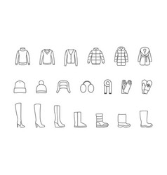 winter clothes shoes line icons set vector image