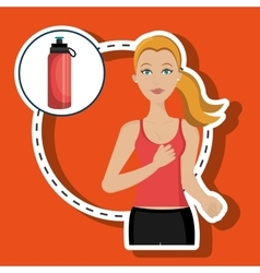 Woman run sport health vector