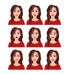 Woman with different facial vector