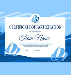 Yacht regatta diploma award certificate template vector