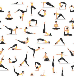 Yoga asanas set seamless pattern vector