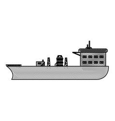 color blurred stripe boat cargo with platform vector image
