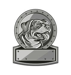 Rottweiler guard dog shield metallic circle retro vector